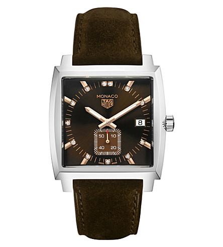TAG HEUER WAW131C.FC6419 Monaco quartz stainless steel and suede strap watch