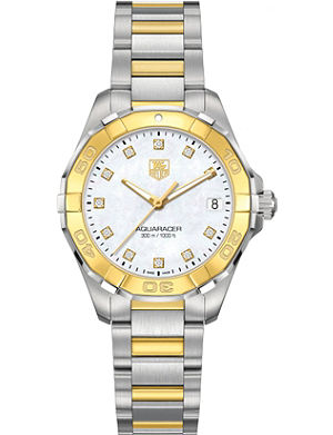 TAG HEUER WAY1351BD0917 Aquaracer steel, diamond and 18ct gold watch