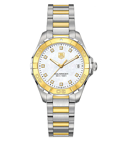 TAG HEUER WAY1351BD0917 Aquaracer steel, diamond and 18ct gold watch (Pearl
