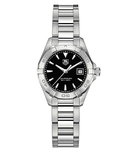 TAG HEUER Way1410.ba0920 Aquaracer stainless steel and leather watch (Black
