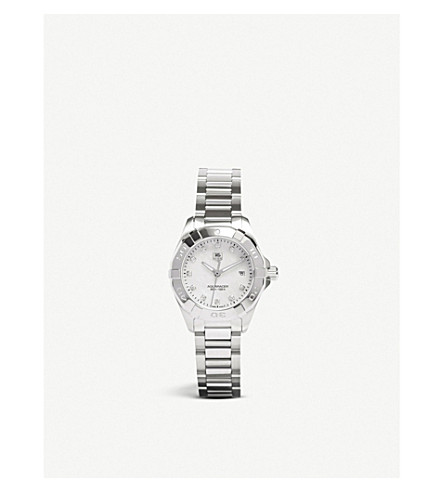 TAG HEUER Way1413.ba0920 Aquaracer stainless steel and mother-of-pearl watch