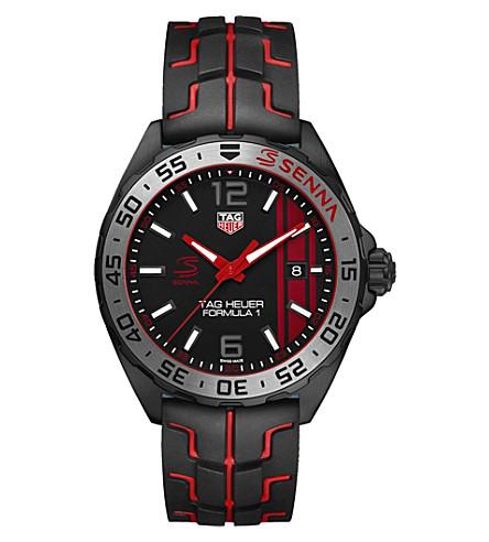 TAG HEUER WAZ1014F.T8027 Senna quartz stainless steel rubber strap watch