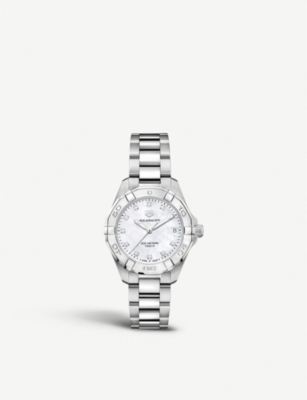 WBD1314BA0740 Aquaracer stainless steel and mother-of-pearl watch(7468291)