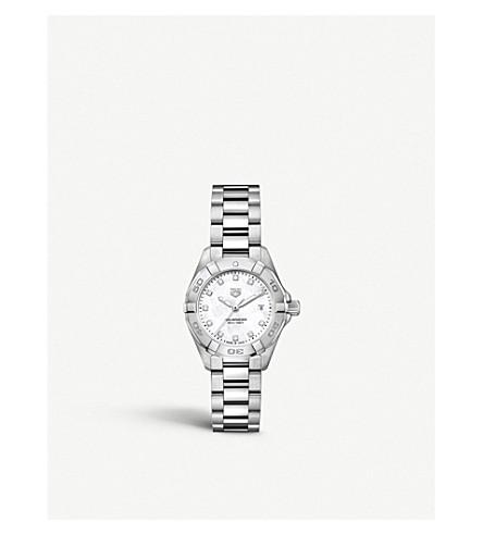 TAG HEUER WBD1414。BA0741 竞潜钻石, 珍珠母和钢铁手表