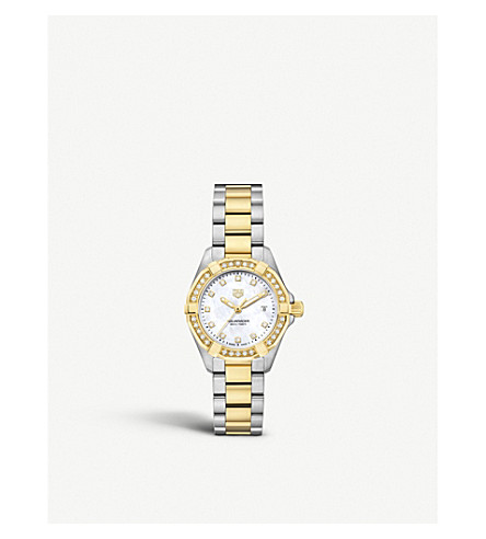 TAG HEUER Aquaracer stainless steel, yellow gold and diamond watch