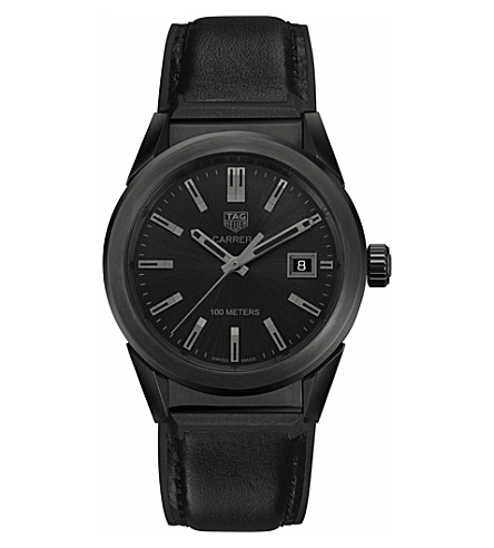 TAG HEUER WBG1313.FT6117 Carrera stainless steel and leather watch