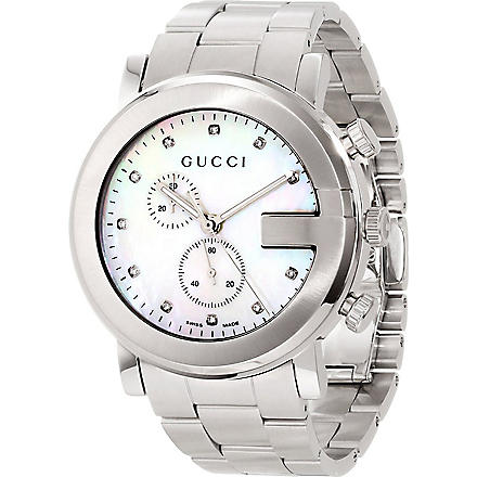 GUCCI YA101351 G-Chrono Collection stainless steel and mother-of-pearl watch (Steel
