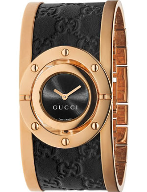 GUCCI ya112438 Twirl large pink-gold PVD watch