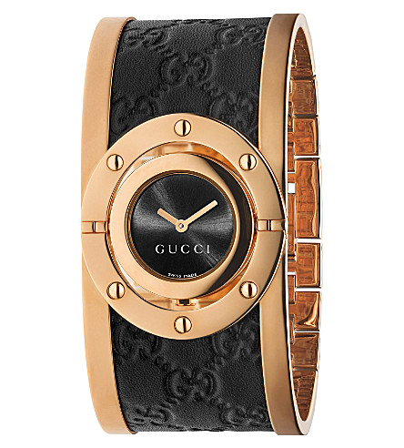 GUCCI YA112438 Twirl large pink-gold PVD watch