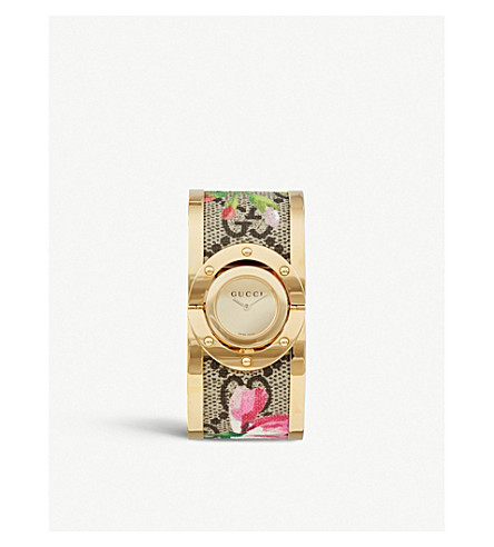 GUCCI YA112443 gold-plated sterling silver and fabric quartz watch