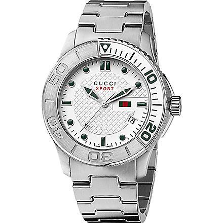 GUCCI YA126232 G-Timeless white quartz watch (Steel