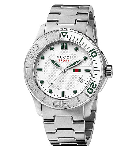 GUCCI YA126232 G-Timeless white quartz watch (Steel