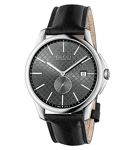 GUCCI YA126319 G-Timeless stainless steel and leather watch (Anthracite