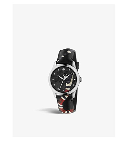 GUCCI YA1264007 乐 Marché Des Merveilles 不锈钢皮表带腕表