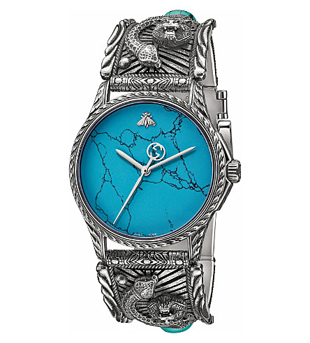 GUCCI Marche Des Merveilles stainless steel and turquoise watch