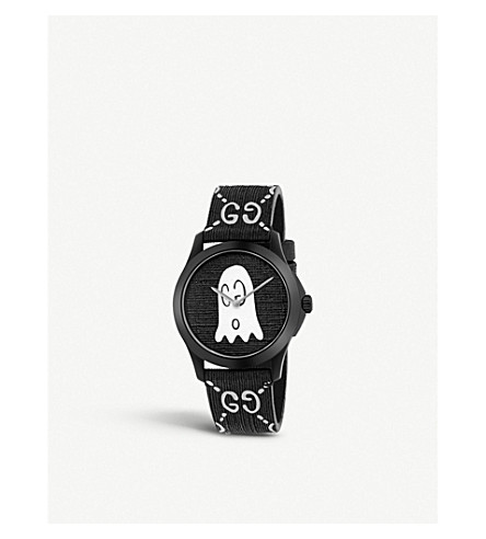 GUCCI YA1264018 G-Timeless Ghost stainless steel and rubber watch