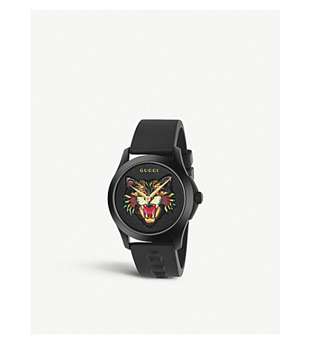 GUCCI YA1264021 stainless steel and rubber watch