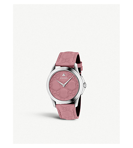 GUCCI YA1264030 G-Timeless stainless steel and leather