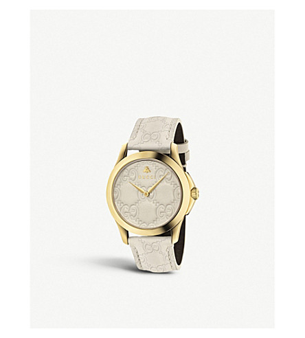 GUCCI YA1264033 G-Timeless yellow gold-plated stainless steel and leather watch