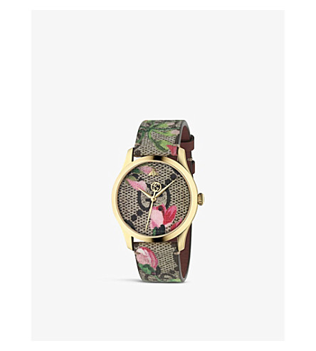 GUCCI YA1264038 stainless steel and textile watch