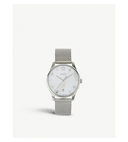 GUCCI YA1264040 G-Timeless stainless steel, mother-of-pearl and mesh watch