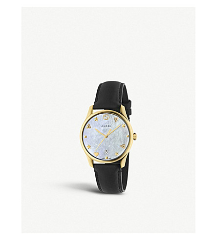 GUCCI YA1264044 gold-plated stainless steel, mother of pearl and leather watch