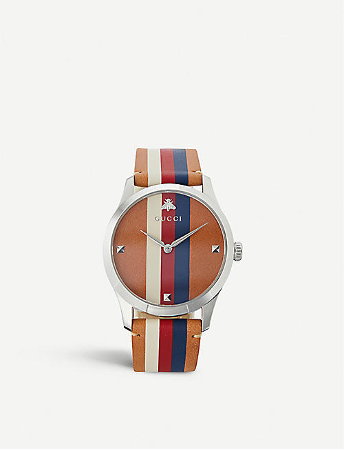 dc5a866a414 GUCCI YA1264078 G-Timeless leather and stainless steel watch