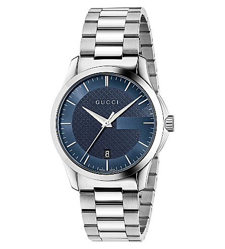 GUCCI YA126440 G-Timeless stainless steel watch (Dark+blue