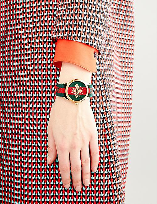 GUCCI YA126487 时尚胶囊金和尼龙手表