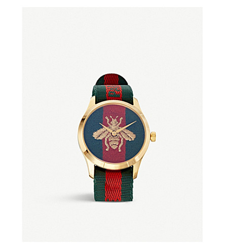 GUCCI YA126487 Fashion Capsule gold and nylon watch