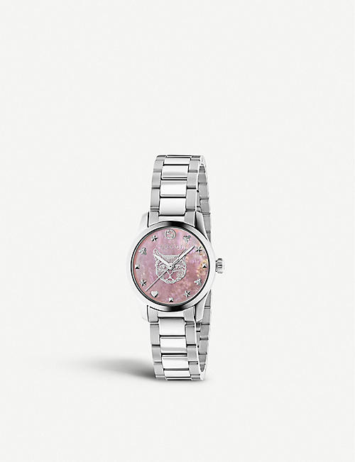 GUCCI YA1265013 G-Timeless stainless steel and mother-of-pearl watch