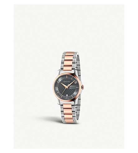 GUCCI YA126527 G Timeless rose gold and stainless steel watch