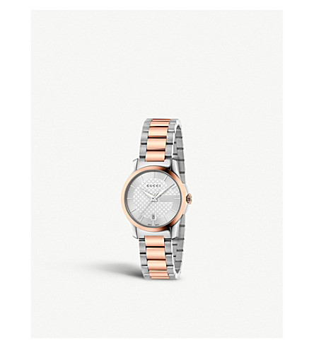 GUCCI YA126528 G Timeless stainless steel and rose gold-toned watch (Silver