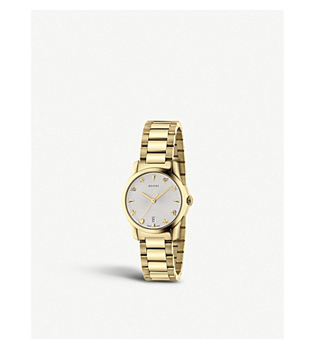 GUCCI YA126576 G-Timeless Collection stainless steel and yellow-gold PVD watch