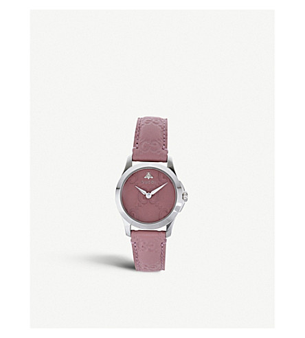 GUCCI YA126578 G-Timeless Collection stainless steel and leather watch