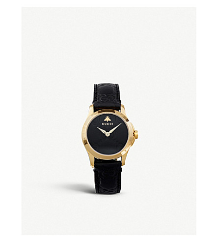 c548c3ea749 GUCCI - YA126581 G-Timeless Collection yellow-gold PVD and leather ...