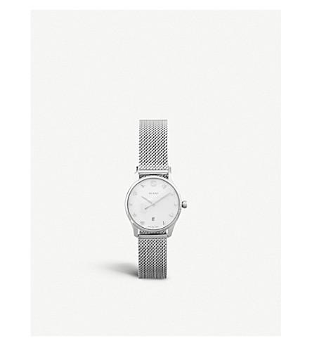 GUCCI YA126583 克-永恒的珍珠母不锈钢手链表带石英表