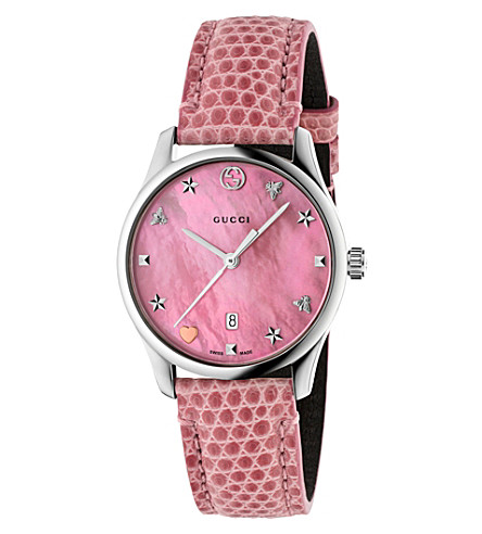 GUCCI YA126586 G-Timeless mother-of-pearl and lizard-leather strap quartz watch