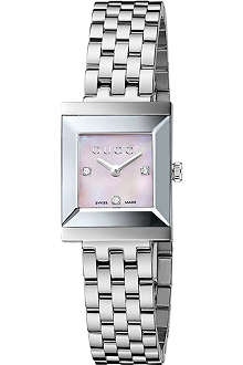 GUCCI YA128401 G-Frame Collection stainless steel and diamond watch