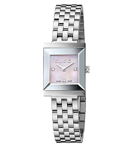 GUCCI YA128401 G-Frame Collection stainless steel and diamond watch (Steel
