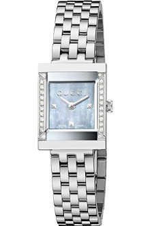 GUCCI YA128404 G-Frame Collection grey mother-of-pearl and stainless steel watch