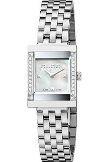 GUCCI YA128405 G-Frame mother-of-pearl and stainless steel watch
