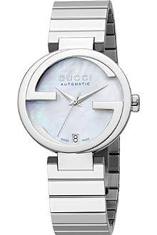 GUCCI YA133401 interlocking-G mother-of-pearl quartz watch