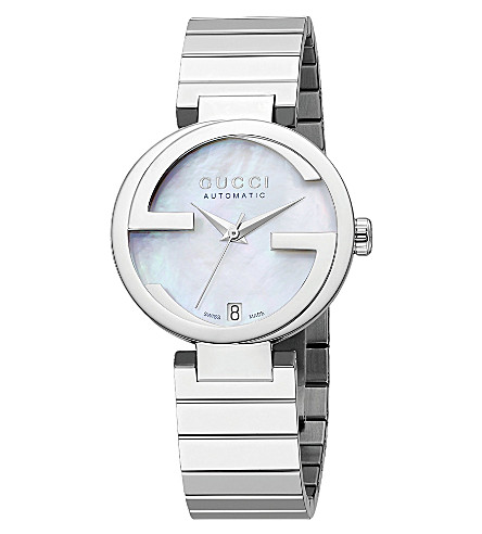 GUCCI YA133401 interlocking-G Collection mother-of-pearl and stainless steel automatic watch (Steel