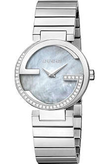 GUCCI YA133509 interlocking-G grey mother-of-pearl diamond quartz watch