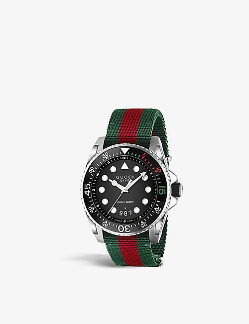 GUCCI YA136209 Dive nylon and stainless steel watch