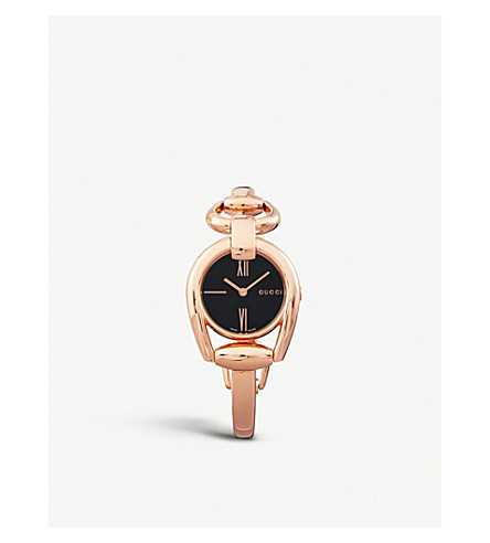 GUCCI YA139507 Horsebit rose-gold watch (Black