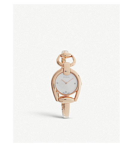 GUCCI YA139508 Horsebit rose-gold and mother-of-pearl watch (Mother-of-pearl