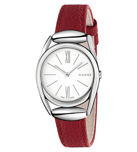 GUCCI Ya140501 Horsebit stainless steel watch (White