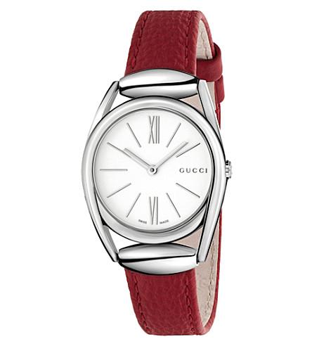 GUCCI Ya140501 Horsebit stainless steel watch (White